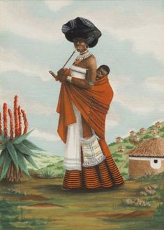 View Xhosa Woman with Baby in a Rural Landscape By Dorothy Kay; Access more artwork lots and estimated & realized auction prices on MutualArt. African Clothing For Men, African Women, Black Girl Art, Black Art, Xhosa Attire, Antique Mantel Clocks, South African Artists, African Print Dresses, African Diaspora