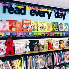 If this classroom library doesn't scream.READING IS IMPORTANT. This is not my classroom library. School Library Decor, Library Rules, School Library Displays, Elementary School Library, Library Themes, Library Activities, Library Ideas, Elementary Library Decorations, Library Boards