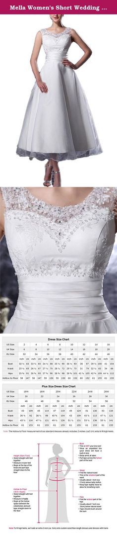 Mella Women's Short Wedding Dresses 2017 for Bride A Line Organza Beading Tea Length White-6. Mella Women's Short Wedding Dresses 2017 for Bride A Line Organza Beading Tea Length White-6 FREE SUPER GIFT: 30$ worth of long tulle bridal veils with lace appliques, up to 9 ft (approximately 3m), Same Lace pattern as that of the wedding dress shown in picture. Perfect match for the brides. Standard Size Option: Choose the size from the dropdown menu according to our Size Chart Image displayed...
