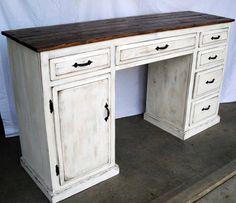 Rustic reclaimed desk / TV-stand / credenza. $645.00, via Etsy.