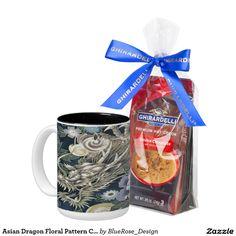 Asian Dragon Floral Pattern Coffee Mug