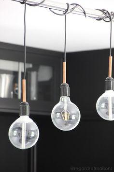 DIY LAMPE BY regardsetmaisons: Comment j'éclaire ma cuisine avec une suspension homemade - cuivre et ampoules-