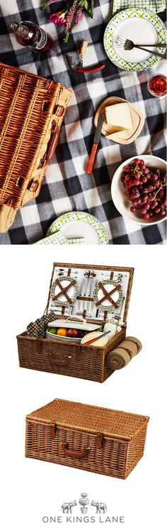 Don't let the season slip by without a proper picnic.  From classic wicker baskets to modern checked blankets to durable dishware that's a cut above…you'll find all the accoutrements for an alfresco affair at One Kings Lane!