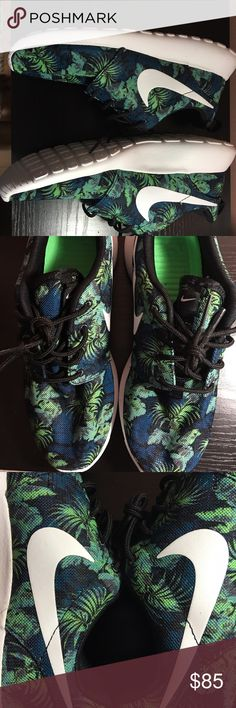 "Nike Roshe Run ""Poison Green Palm Trees"" This is a unique pair of Roshe run with the original bottom white and a cool design of free palm trees and navy blue Palm like flowers with a Nike navy/black back and black laces. ***SIZE: this is a youth 6 but fit a women 8 ****   The inside is a neon green. Part of the Holiday2014 collection **COMES WITH BOX** Nike Shoes Sneakers"