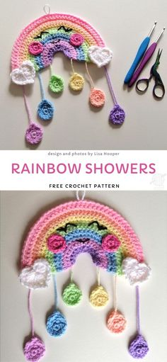 This adorable rainbow is one of the cutest nursery decorations there is. You can adjust it by changing the colors, who said that rainbow always have to be vibrant and colorful, right? Crochet Home, Crochet Gifts, Crochet Baby, Knit Crochet, Rainbow Decorations, Rainbow Crochet, Easy Crochet Patterns, Beautiful Crochet, Crochet Flowers