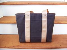 Waxed Canvas Zip Top Tote in Chocolate/Webbing straps