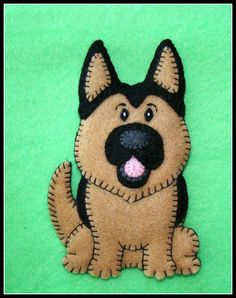 German Shepherd Puppy-handmade embroidered felt Christmas ornament-Refrigerator magnet combo. New PUDGY PUPPY Series-very limited. CUTE.