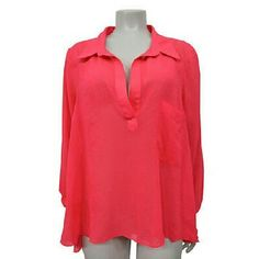 Free People coral sheer collared pullover Sz M Pre-owned; Slight spots at front / side bottom + underarms pictured Material: 100% polyester Specifics: Sheer Collared Pullover Top Long sleeves pocket at chest not lined Inventory # R3T  # 446#  Across chest: 22 in. Across waist: 22.5 in. Length short : 23.75 in. Length long : 27.25 in Free People Tops Blouses