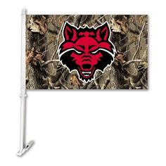 Arkansas State Red Wolves Car Flag W/Wall Brackett - Realtree Camo Background