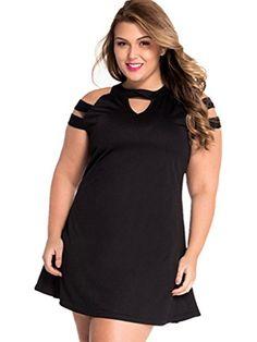 ABERRY Women Short Black Plus Size Cold Shoulder Swing Short Dress
