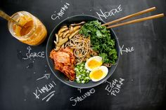 Soba Noodles with Sesame Dressing. Kimchi too obvi.