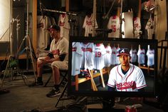 Andrelton Simmons working with Braves Vision at Spring Training.