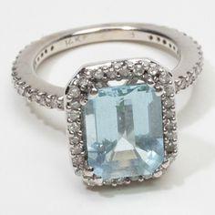 Vintage Estate 14k Gold Aquamarine Diamond Cocktail Ring Fine vintage aquamarine rings