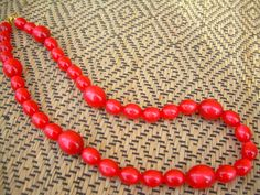 Red Vintage Beads Necklace /  Free Shipping by fukumat on Etsy, $15.00
