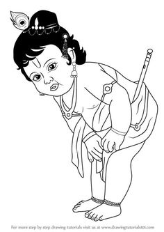 Baby Krishna is one of the lord in Hinduism. He is famous among Hindus due to his naughty ways. Krishna Drawing, Krishna Painting, Krishna Art, Lord Krishna, Krishna Images, Art Drawings Sketches Simple, Art Drawings For Kids, Cartoon Drawings, Cute Drawings