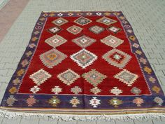 VINTAGE Turkish Kilim Rug Handwoven Kilim Rug by TurkishCraftsArts