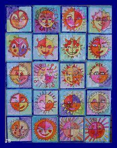 ieder krijgt vier papiertjes met daarop een kwart van een cirkel. met viltstift wordt elk deel ingevuld.Later komen de vier delen bij elkaar waardoor vrolijke zonnen ontstaan.