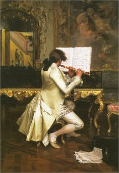 ♪ The Musical Arts ♪ music musician paintings - Charles Bargue | Flute Player