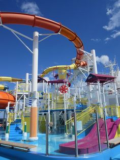 Empty Waterslides on Carnival Cruise