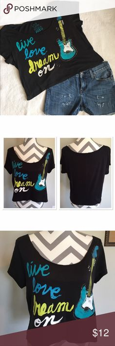 """Aero Black Cropped T-Shirt Bust 19 in. 19 in long. """"Distressed"""" look around all of neckline ( last picture ) 60% cotton, 40% polyester. Cropped shirt. Live, love, dream on. Aeropostale Tops Crop Tops"""