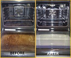 Oven Cleaning Tip! Warmed oven with two containers (ammonia, hot water) overnight. Next morning combine ammonia with warm water and detergent. Use rubber gloves and wipe out the overn.