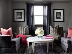 Charcoal Gray w/ Pops of Pink! See more color-infused living rooms from HGTV --> http://www.hgtv.com/living-rooms/our-favorite-color-infused-living-rooms/pictures/page-4.html?soc=pinterest
