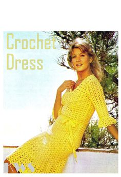 Vintage 70s Crochet Lacy DRESS  PDF Pattern  by KinzieWoolShop
