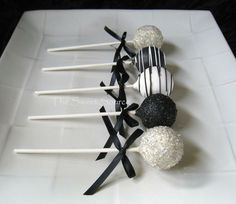 Black and silver cake pops