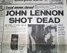 John Lennon was an English musician who gained worldwide fame as one of the founders of The Beatles, for his subsequent solo career, and for his political activism and pacifism. He was shot by Mark David Chapman at the entrance of the building where Newspaper Article, Old Newspaper, John Lennon, Front Page News, Newspaper Headlines, Headline News, True Crime, World History, Marketing