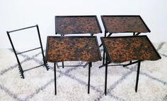 Set of (4) MCM Artex Serving Tray Folding TV Table —