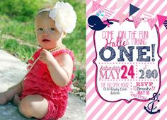 birthday navy and pink whale theme | Nautical 1st Birthday Invitation Girl Pink by AveryKasperDesign, $21 ...