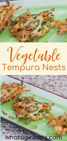 Vegetable tempura nests are a delicious and easy to make gluten-free appetizer. Crispy patties of carrot, zucchini, kale, and onion, served with a tangy soy dipping sauce. This Trader Joe's copycat recipe is great for hors d'oeuvres at a party or a healthy snack. | What A Girl Eats Gluten Free Appetizers, Appetizer Recipes, Thanksgiving Appetizers, Appetizers For Party, Best Gluten Free Recipes, Sweet Recipes, Vegetable Recipes, Vegetarian Recipes, Trader Joe's