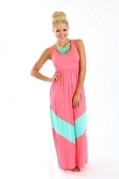 MVB Chevron Color Block Maxi Dress