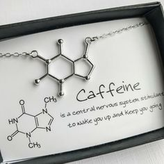 Cute and quirky, our Caffeine Molecule Necklace is a unique charm necklace representing the molecular structure of Caffeine - found in goodies ranging from Coffee & Tea to Chocolate and Soda Pop. Molecule Necklace, Molecule Tattoo, Cute Charms, Diy Schmuck, Coffee Love, Silver Necklaces, Gold Bracelets, Gold Earrings, Silver Jewelry