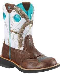 Ariat Crinkle Camo Fatbaby Cowgirl Boot - Round Toe, Brown