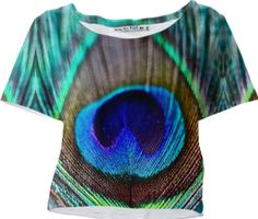 Peacock Feather Sleeved Crop Top - Available Here: http://printallover.me/products/0000000p-peacock-feather-18