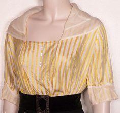 1915 yellow striped silk satin bodice w/ organdy collar-- off ebay