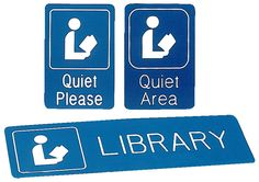 A choice of clearly understood signs for use in your library. Made from durable plastic, the blue background with silk-screened white letters offer high visibility and readability. Library Signage, Signage Display, Regulatory Signs, Signages, Library Displays, White Letters, Media Center, Blue Backgrounds, Madness