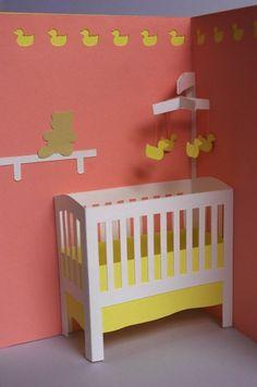 Baby-Krippe Popup-Karte in Pastellblau Pink von PeadenScottDesigns