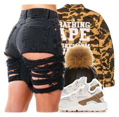 A fashion look from July 2016 featuring army shirts, short shorts and nike sneakers. Browse and shop related looks. High Fashion Outfits, Model Outfits, Cute Girl Outfits, Stylish Outfits, Womens Fashion, Fashion Killa, Fashion Addict, Bape Outfits, Ladies Style