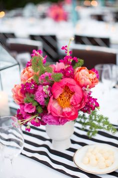 Photography: Jen Lauren Grant From Birds Of A Feather Photography - birdsofafeatherphoto.com Floral Design: Arrangements Party & Floral Designs - arrangementsdesign.com   Read More on SMP: http://www.stylemepretty.com/2014/03/06/colorful-palm-springs-wedding/