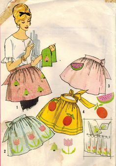1960s Simplicity 4180 UNCUT Vintage Sewing Pattern Misses' One Yard Apron for Cross Stitch with Transfers One Size