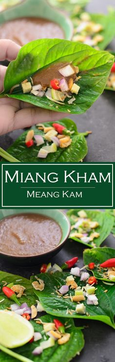 Miang Kham recipe. Miang Kham or Thai leaf wrap salad bite, is popular Thai street food. Miang kham, eaten in single bite has all the Thai flavours of sour, sweet, spicy, tart and crunch #salad #thaifood #thailand #bitesize #food
