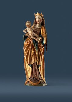 Maria mit Kind Nürnberg, um 1480/90 Senger Bamberg Kunsthandel – www.senger-bamberg.de  Statue of Our Lady with Jesus – Nuremberg – 1480/90 Limewood – Original form  Lindenholz, rückseitig gehöhlt, originale Fassung Höhe: 107 cm  In the years 1480/90 Nuremberg was a very prosperous medieval town - one of the most important centres of late gothic sculpture  Come and see for yourself at the Bamberg Art and Antiques Fair 2016 www.bamberger-antiquitaeten.de