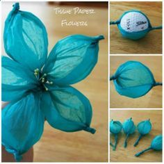 Tissue Paper Flowers. How stinkin easy and cute!