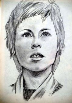 portrait drawing with pencil by Peter Pavluvcik - Marlène Jobert.
