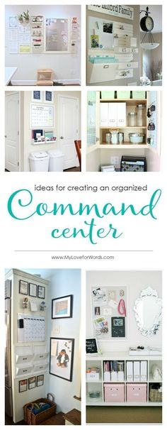 Family command center: (Include: paper catchers for action & file [also inc a guideline on what to keep & what to shred], maybe a holder for each family member,  etc.)