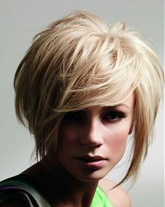Asymmetrical hairstyle for finer hair