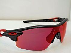 7746ca28f (eBay Ad) Authentic Oakley Customized RadarLock Black Red Prizm Baseball  Sunglasses $270
