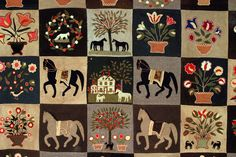 appliqué: horses, flowers, trees and a house!